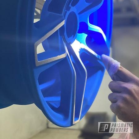 Powder Coating: Wheels,Cheater Blue PPB-6815,Rims,2 Stage Application,Two Tone Wheels,Two Tone,Alien Silver PMS-2569,Aluminum Wheels