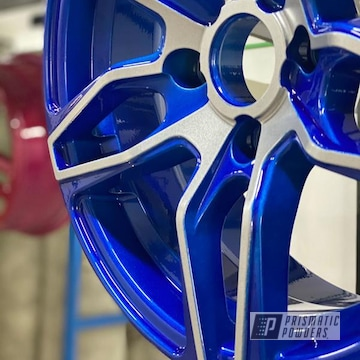 Powder Coated Two Tone Wheels In Ppb-6815 And Pms-2569