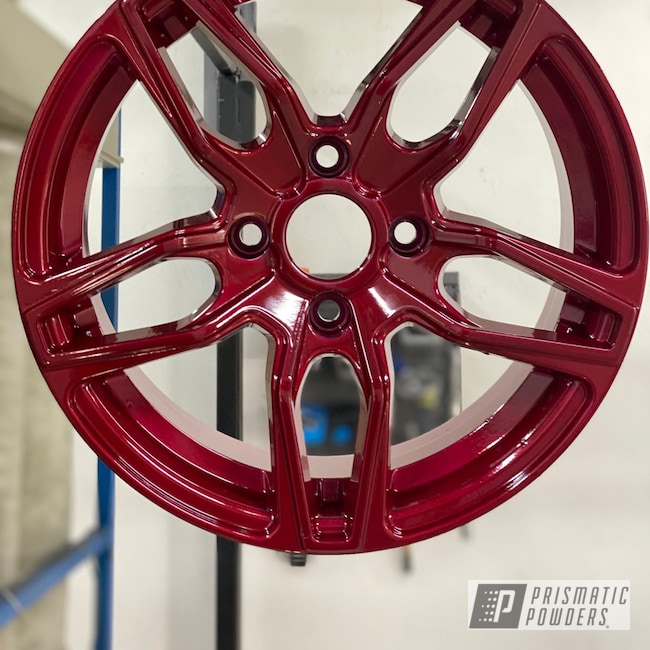Powder Coating: Wheels,Rims,2 Stage Application,Alien Silver PMS-2569,Soft Red Candy PPS-2888,Aluminum Wheels,Layered Colors