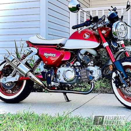 Powder Coating: Custom,Heavy Silver PMS-0517,Custom Wheels,LOLLYPOP RED UPS-1506,Custom Motorcycle Parts,Motorcycle Parts,Honda,Motorcycles,MONKEY