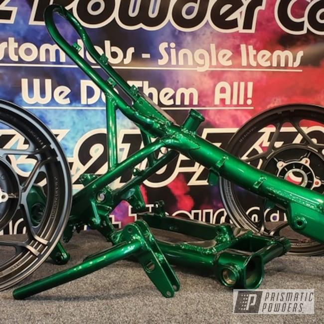 Powder Coating: Wheels,Clear Vision PPS-2974,Bike Frame,Custom Bike Frame,Illusion Green PMS-4516,Silk Satin Black HSS-1336