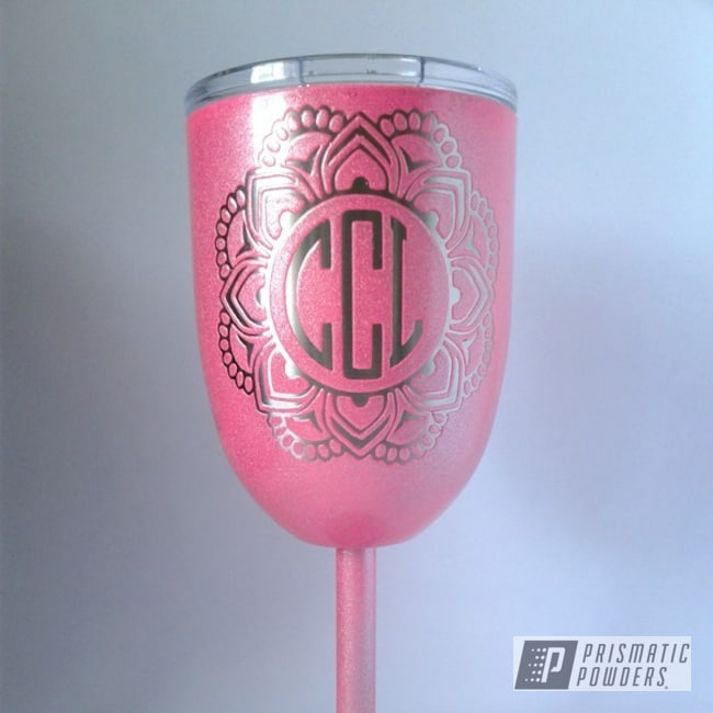 Powder Coating: COSMIC CLEAR UPB-2465,Two Stage Application,Clear Top Coat,Sassy PSS-3063,Mandala Wine Glass,Monogram Mandala,Miscellaneous
