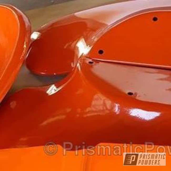 Powder Coating: Single Powder Application,Tractor Parts,Solid Tone,Cabot Orange PSS-1429,Allis Chalmers Tractor,Miscellaneous