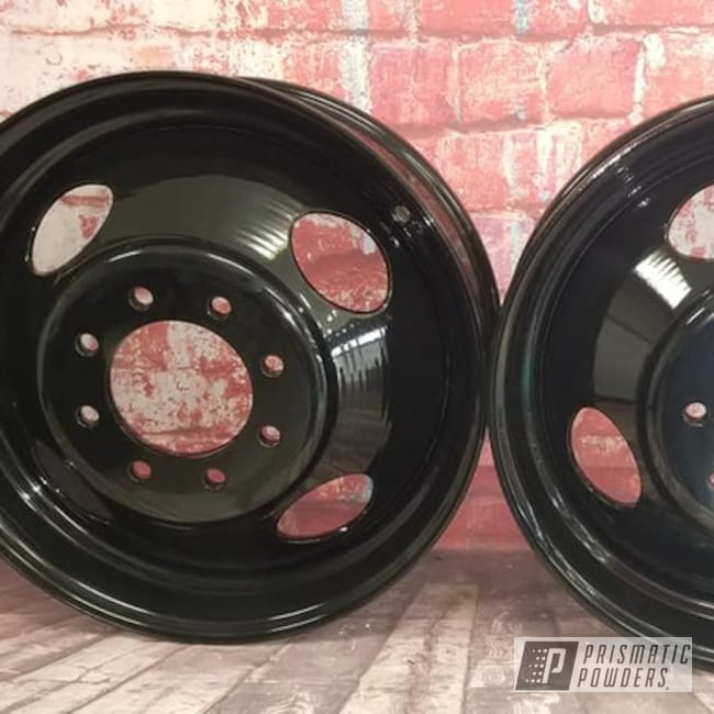 Powder Coating: Wheels,Dually,Ink Black PSS-0106,Steel Wheels,Dually Wheels,Steel Rims