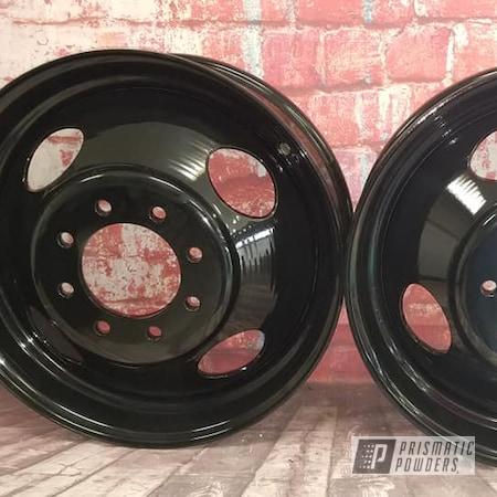 Powder Coating: Wheels,Dually,Ink Black PSS-0106,Steel Wheels,Dually Wheels,Steel Rims