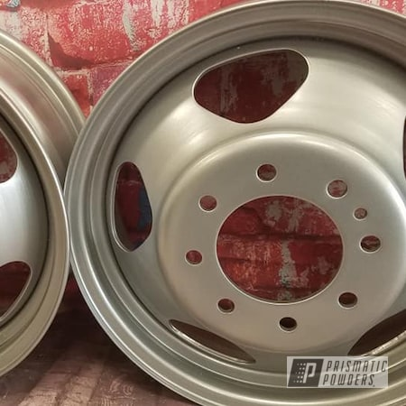 Powder Coating: Wheels,Dually,Steel Wheels,Crushed Silver PMB-1544,Dually Wheels,Steel Rims