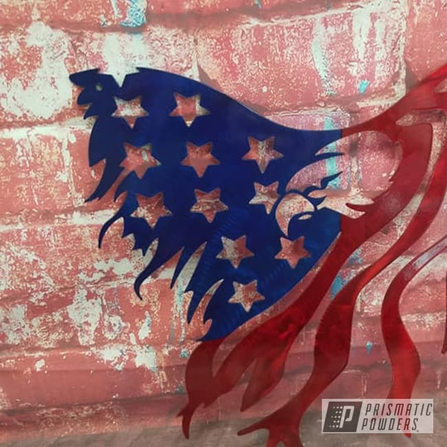 Powder Coating: Metal Art,Multi Color Application,Flag,Eagle,LOLLYPOP BLUE UPS-2502,Patriotic,Rancher Red PPB-6415,Metal Sign