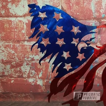 Powder Coated Patriotic Metal Art In Ups-2502 And Ppb-6415