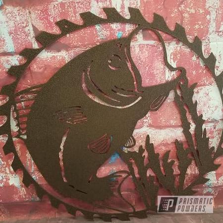 Powder Coating: Metal Art,Fishing,Bass,Splatter Copper PWB-2878,Metal Sign
