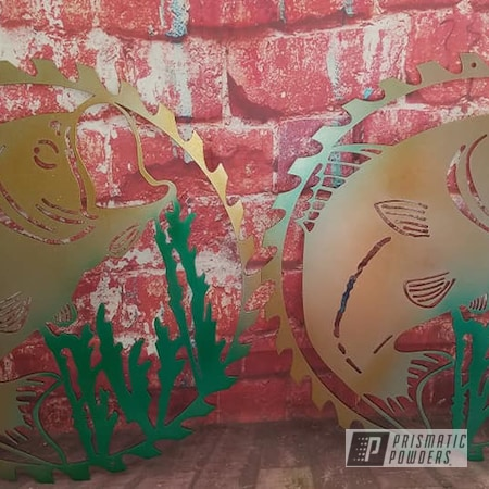 Powder Coating: Metal Art,Multi Color Application,Bass Fishing,Gold Sparkle PPB-4499,Penny Dust PPB-5108,Sultan Green PPB-1355,Metal Sign