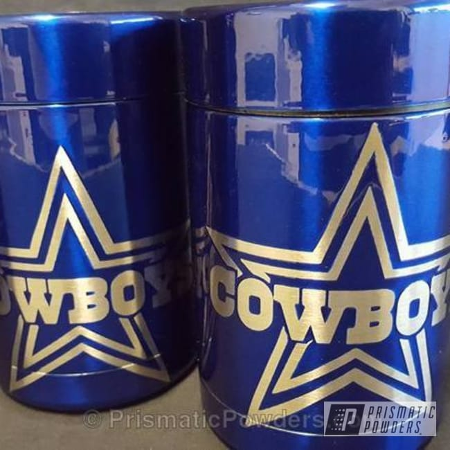 Powder Coating: Single Powder Application,Cheater Blue PPB-6815,Custom Koozies,Dallas Cowboys Theme,Solid Tone,Custom Bottle Keepers,NFL Football,Miscellaneous