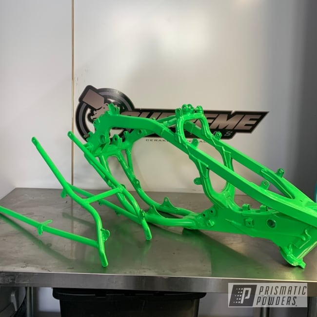 Powder Coating: Kawasaki,Motorcycle Frame,Motocross,KX,Bright Green PSB-5945,Motorcycles