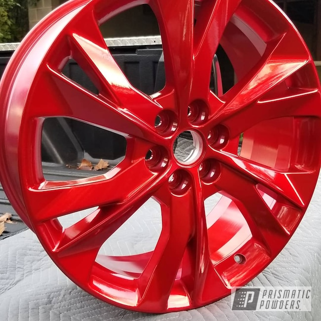 "Powder Coating: Wheels,POLISHED ALUMINUM HSS-2345,Chevrolet,20"" Wheels,TwoCoat,Blazer,Rancher Red PPB-6415,Chevy"