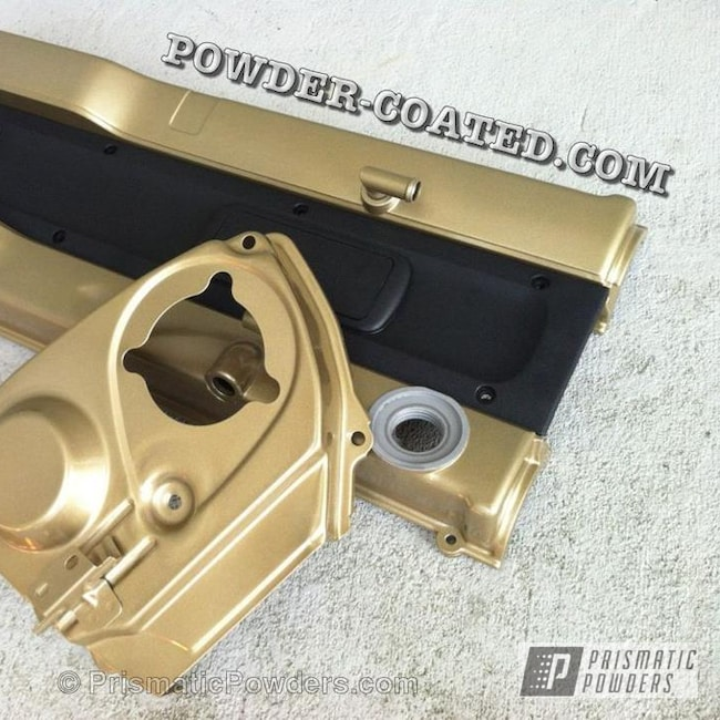 Powder Coating: Automotive,Clear Vision PPS-2974,Sleet Gold PMB-4674,SLEET GOLD RB25DET VALVE COVER,Valve Cover