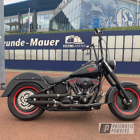 Powder Coating: Harley Davidson,Clear Vision PPS-2974,Hard Red PSS-5394,Motorcycle Parts,Ink Black PSS-0106,Two Coat Application,parts,Motorcycles,Harley