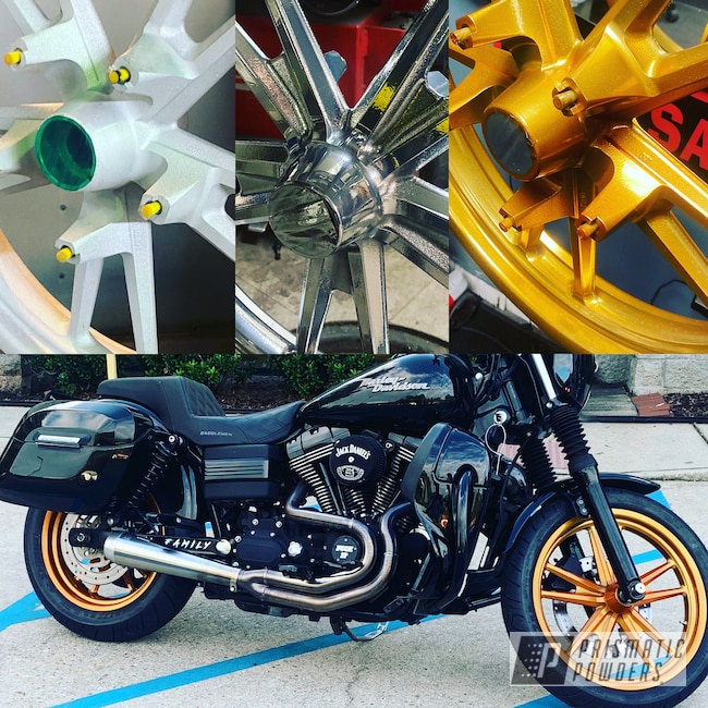 "Powder Coating: Flaming Gold PPB-4698,Harley Davidson,17"" Aluminum Rims,Low Rider S,SUPER CHROME II PSS-10300,Dyna,Aluminum"