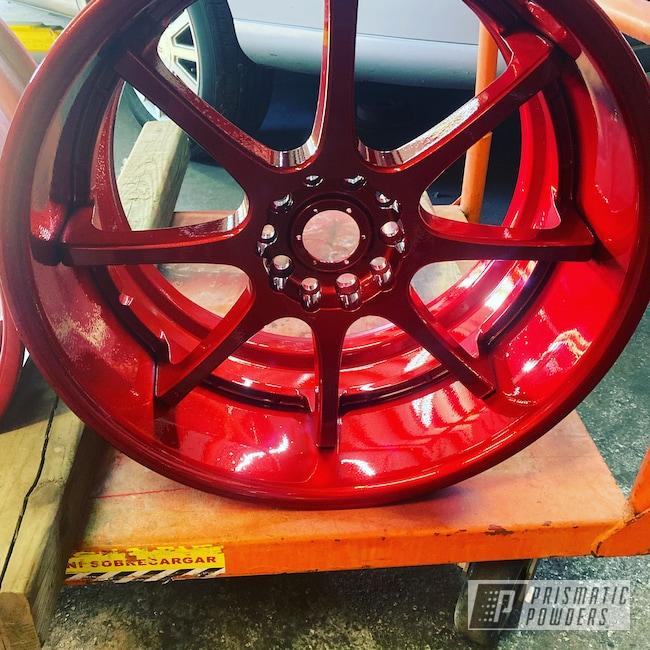 """Powder Coating: LOLLYPOP RED UPS-1506,17"""" Aluminum Rims,Acura,SUPER CHROME II PSS-10300,Aluminum"""