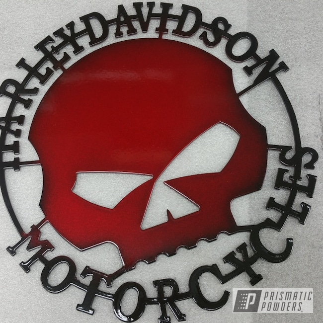 Powder Coating: Harley Davidson,LOLLYPOP RED UPS-1506,SUPER CHROME II PSS-10300,Metal Signs
