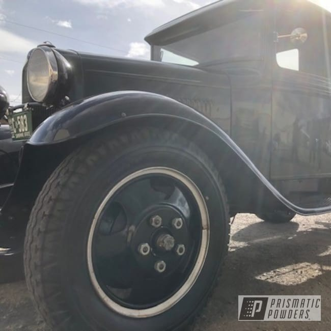 Powder Coating: Wheels,Old Ford Truck,Old Ford Delivery Truck,GLOSS BLACK USS-2603,Ford