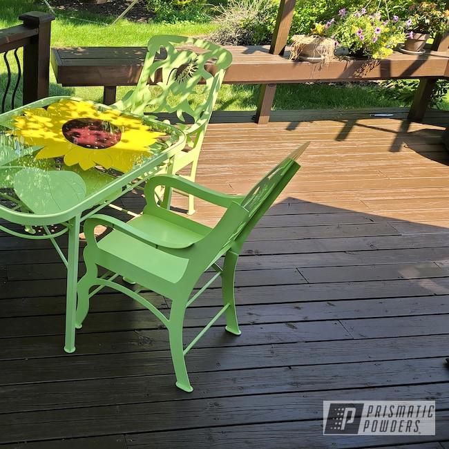 Powder Coating: Patio Furniture,Outdoor Furniture,Sunshine Yellow PSS-2600,Patio Set,Stem Green PSB-6605,Iris Maroon PSB-4974,Furniture
