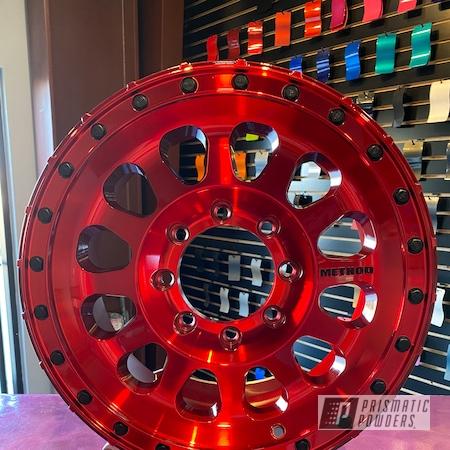 Powder Coating: Wheels,Method Wheels,BLACK JACK USS-1522,LOLLYPOP RED UPS-1506,Rims,Method,Two Tone Wheels,Two Tone,Method Race Wheels,Chevy,Aluminum Wheels