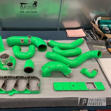 Powder Coating: Turbo Parts,Bright Green PSB-5945,Banks,Diesel,Genesis Powder Coating,Diesel truck