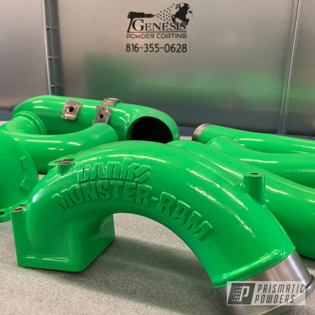 Powder Coating: Turbo Parts,Bright Green PSB-5945,Banks,Diesel,Genesis Powder Coating,Diesel truck