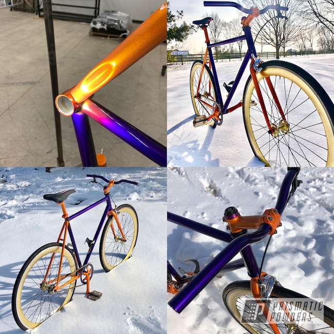 Powder Coating: Illusion Purple PSB-4629,Multi Color Application,Clear Vision PPS-2974,Genesis Powder Coating,Bicycle,Powder Coating Fade,Illusion Orange PMS-4620,Road Bike