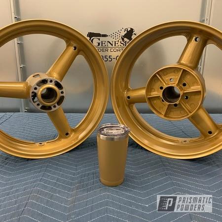 Powder Coating: Motorcycle Rims,Genesis Powder Coating,Gold Wheels,Motorcycle Wheels,Custom Powder Coating,Suzuki,Prismatic Gold HMB-4137,Aluminum Wheels