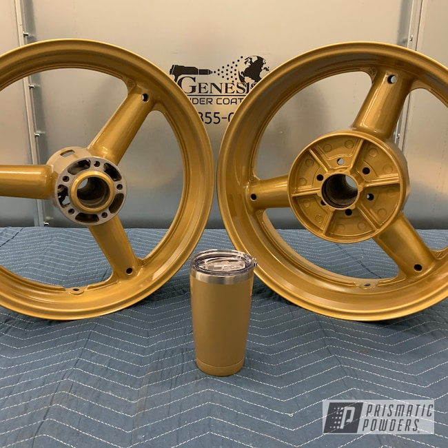 Powder Coating: Motorcycle Rims,Genesis Powder Coating,Gold Wheels,Motorcycle Wheels,Custom Powder Coating,Suzuki,Prismatic Gold HMB-4137,Aluminum Wheels