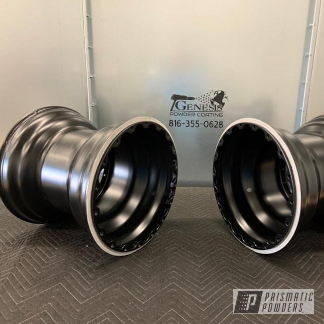 Powder Coating: Wheels,Stone Black PSS-1168,Dragster Wheels,Genesis Powder Coating,Powder Coated Wheels,Custom Powder Coating,Bead Lock Wheels,Drag Wheels,Aluminum Wheels