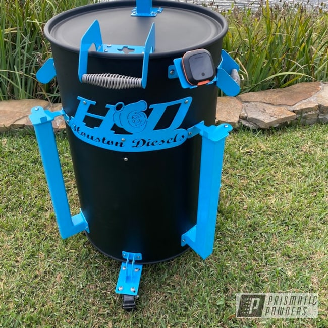 Powder Coating: Shattered Glass PPB-5583,Flatter Black ESS-4441,Smoker,Powder Blue PSS-4009,Slow Cook,Meat Smoker,Outdoor Grill