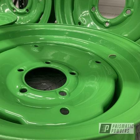 Powder Coating: Wheels,Tractor Green PSS-4517,Steelies,Steel Wheels