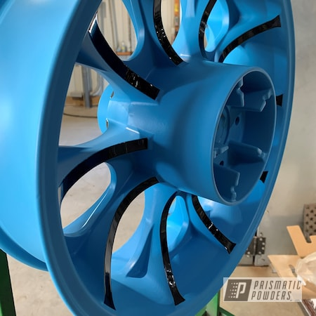 Powder Coating: Wheels,Ink Black PSS-0106,Motorcycle Wheels,Two Tone,Gumball Blue PSS-6928