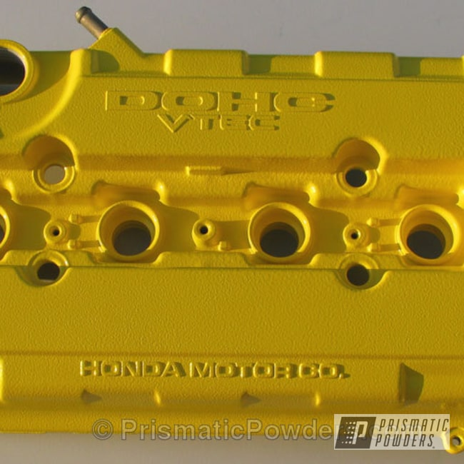 Powder Coating: Custom,Yellow Valve Cover,Automotive,Cobra DOHC Valve Covers,powder coating,powder coated,Prismatic Powders,Canary Yellow PRB-6119,DOHC VTEC,DOHC,Valve Cover