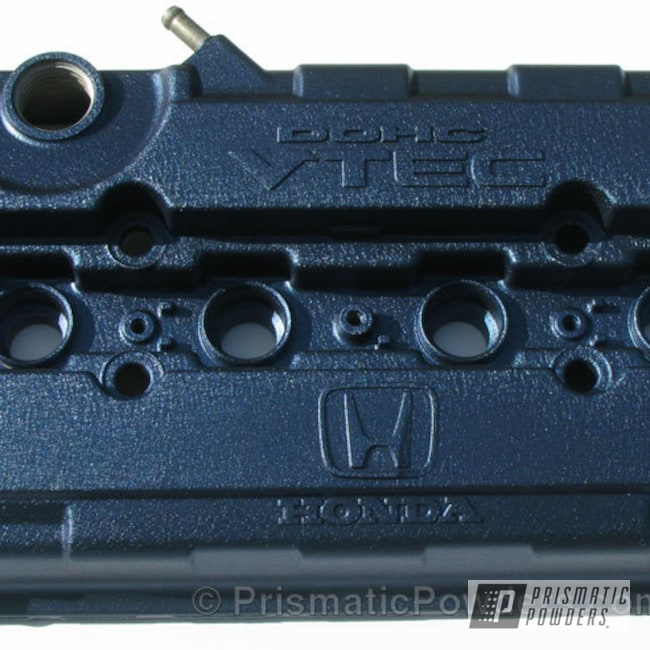 Powder Coating: Custom,Automotive,powder coating,Dark Blue Valve Cover,powder coated,Prismatic Powders,Splatter Midnight PWB-2880,Valve Cover