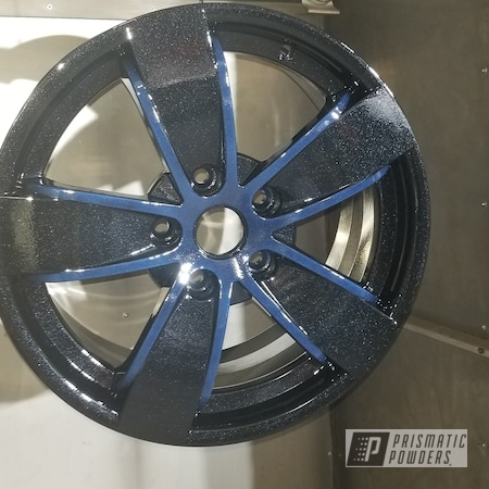Powder Coating: Wheels,Rims,Pearl Black PMB-5347,Two Tone Wheels,Two Tone,Automotive Rims,Midnight Blue Cast PCB-1110