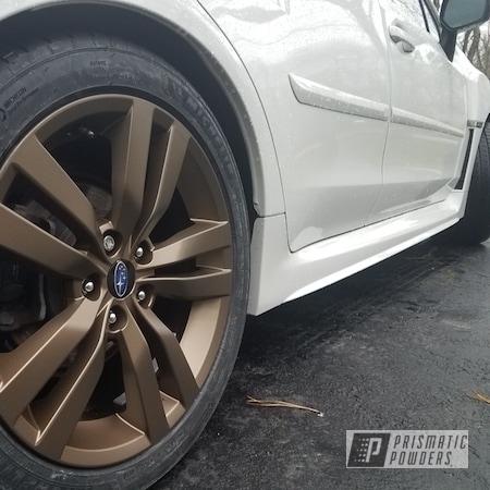 "Powder Coating: Wheels,Bronze Subaru Rims,Two Stage Application,Rims,Subaru,18"" Aluminum Rims,Highland Bronze PMB-5860,Fog Clear PPB-4761"