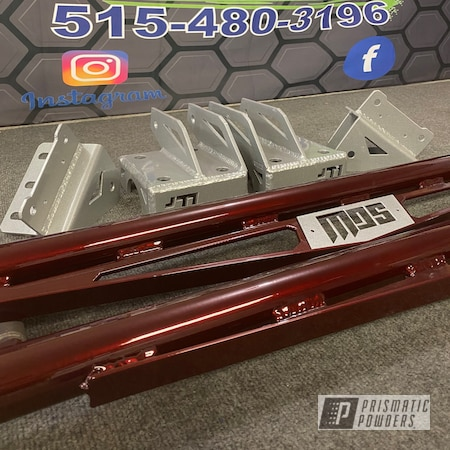 Powder Coating: Automotive,4x4,Two Stage Application,LOLLYPOP RED UPS-1506,Candle Green PMB-4330,Traction Bars,1500,Chevy