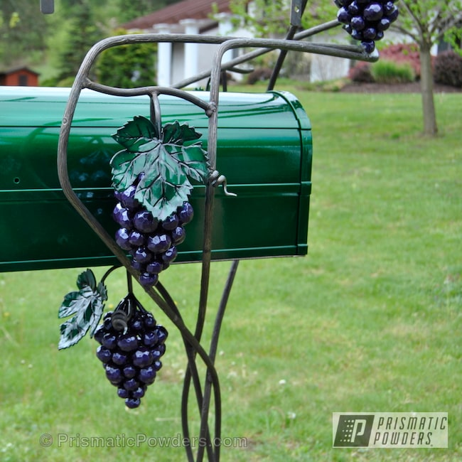 Powder Coating: Clear Vision PPS-2974,Custom Mail Box,Illusion Green PMS-4516,Art,Illusion Green box,Cedar Purple PPB-5782,Mail Box