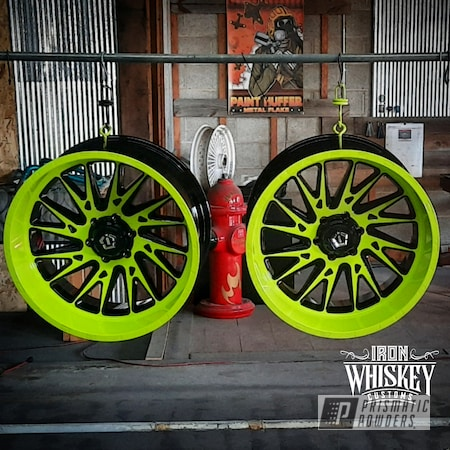 """Powder Coating: Wheels,Clear Vision PPS-2974,Chartreuse Sherbert PSS-7068,Rims,Ink Black PSS-0106,Two Tone Wheels,22"""",Two Tone"""
