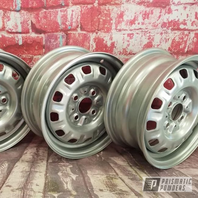 "Powder Coating: Wheels,Automotive,14"" Steel Wheels,Steel Wheels,Crushed Silver PMB-1544,Automotive Rims,Automotive Wheels,Steel Rims"