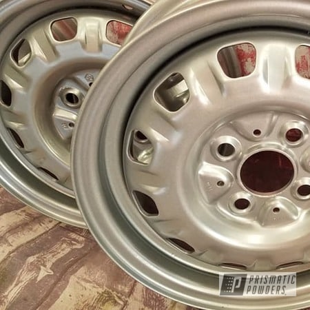"Powder Coating: Wheels,Automotive,14"" Steel Wheels,Steel Wheels,Crushed Silver PMB-1544,Automotive Rims,Automotive Wheels,Steel Rims"