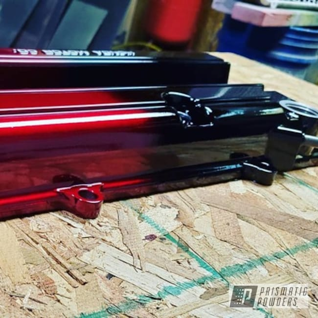 Powder Coating: Clear Vision PPS-2974,2 Color Application,Color Fade,Ink Black PSS-0106,2 Stage Application,Acura,Integra,Illusion Cherry PMB-6905,Aluminum,Fade,Valve Cover