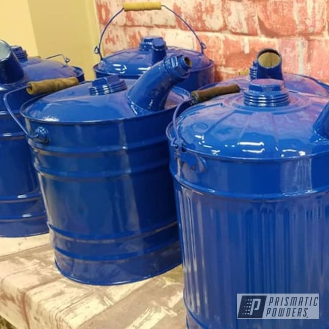 Powder Coated Vintage Gas Cans In Ral 5010
