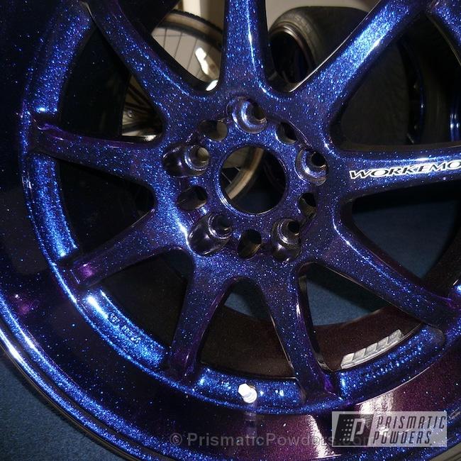 Powder Coating: Wheels,Custom,Chameleon Violet PPB-5731,Xavier's Work Rims,Ink Black PSS-0106,powder coating,powder coated,Prismatic Powders,Purple wheels