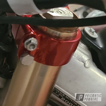 Powder Coating: CR250,LOLLYPOP RED UPS-1506,Motorcycle Parts,Honda,SUPER CHROME II PSS-10300,Aluminum,Motorcycles,Dirtbike
