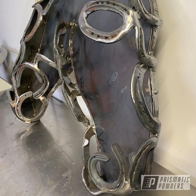 Powder Coating: Horsehead,Pearl White PMB-4364,Handmade,VANDOOZY COPPER UMB-6675,Art,horse