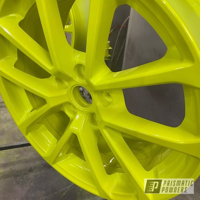"Powder Coating: Wheels,Two Stage Application,enkei,Rims,18"" Aluminum Rims,Gloss White PSS-5690,Shocker Yellow PPS-4765,Car Wheels,Aluminum Wheels"