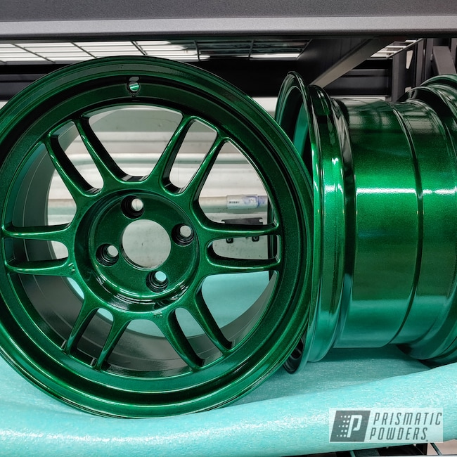 "Powder Coating: Wheels,Alloy Wheels,Clear Vision PPS-2974,Rims,15"" Aluminum Rims,Ultra Illusion Green PMB-5346"